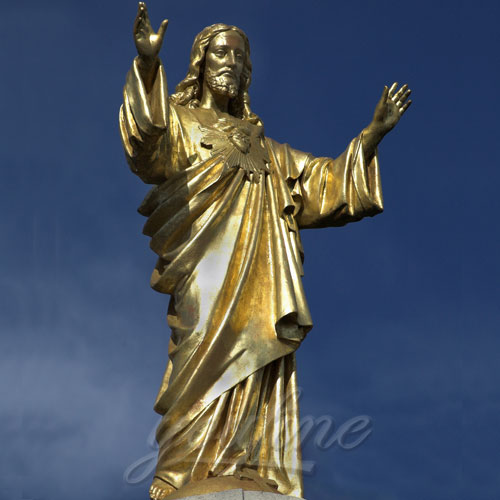 Bronze Standing Jesus Sculpture Christian Statue with Hands Opening for Sale