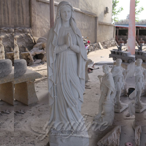 Factory Supply White Marble Carved Blessed Virgin Mary for Sale