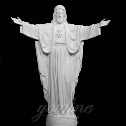 Home Interior Decorative White Marble Jesus Statue with Open Hand