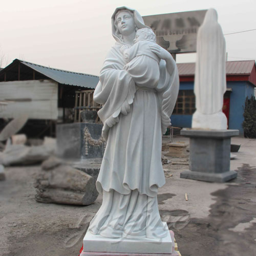 Natural Stone White Marble Virgin Mary Statue with Jesus Christ Carving Sculpture for Sale