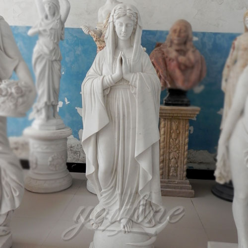 Outdoor Blessed Natural Stone Virgin Mary Garden Statues For Decor
