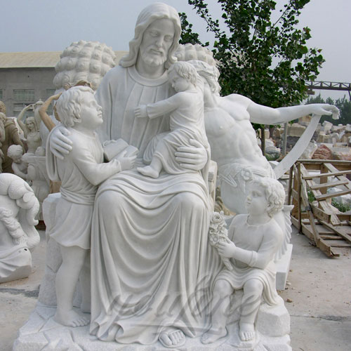 Outdoor Large Jesus Marble Statue with Child Statues Sculpture for Garden Decor