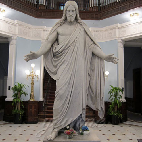 Praying Home Interior Decorative White Marble Jesus Statue With Open Hand