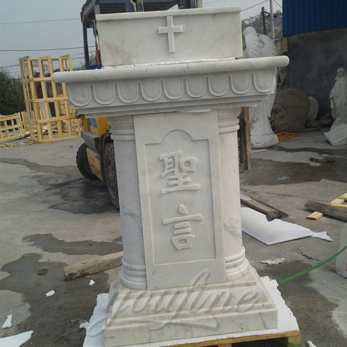 Stone Altars For Sale: White Hand Carved Marble Modern Church Pulpit For Decor