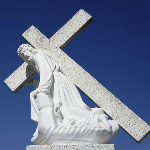 White Marble Jesus Statue with Cross on Back for Sale