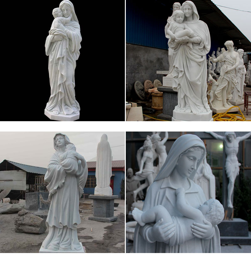 Marble Virgin Mary with Baby Jesus Statue