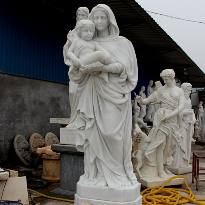 White Marble Virgin Mary with Baby Jesus Statue for sale