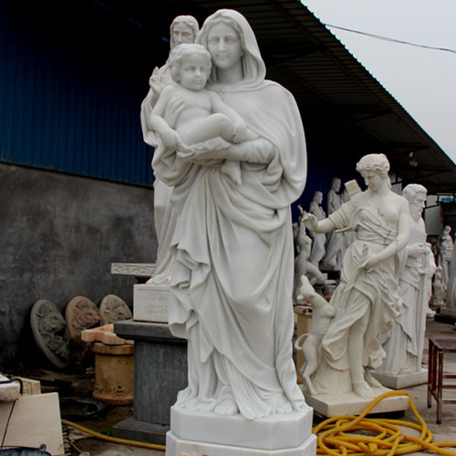 Life Size White Marble Virgin Mary Hoilding Baby Jesus Statue for sale CHS-730