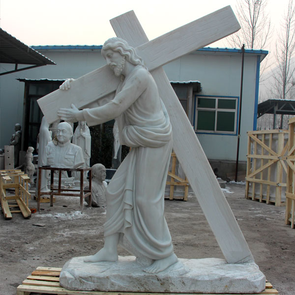 Religious Jesus Holding Cross Statue Garden Stone Sculpture for Sale CHS-290