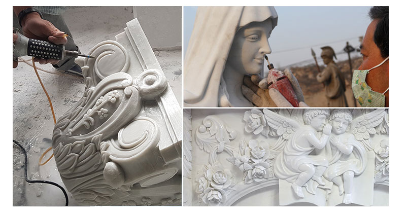 process of virgin mary statue