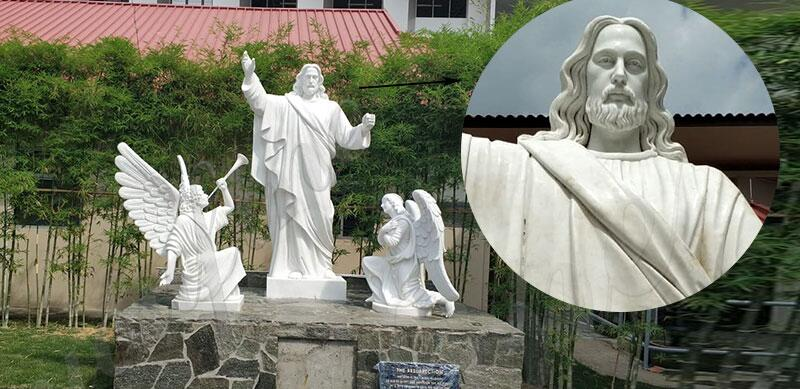 white-marble-jesus-statues-with-angels-design-for-church-from-Singapore-for-sale