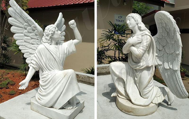 white-marble-outdoorjesus-statue-with-angels-design-for-church-from-Singapore-for-sale