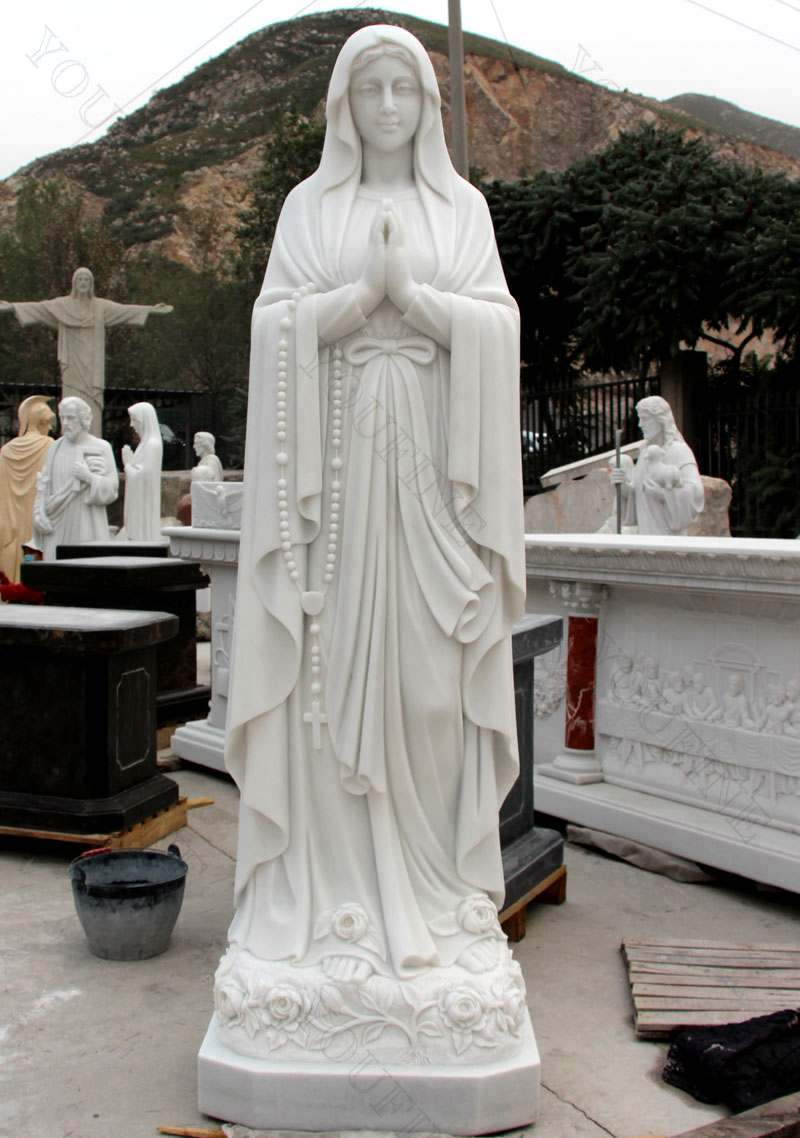 Hand Carved Religious Life Size Marble Mary Statues Garden Sculpture