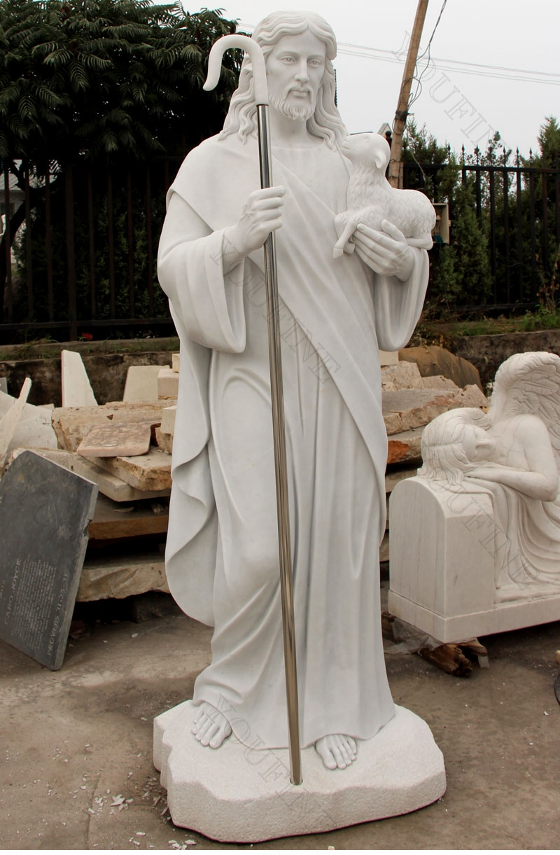 Jesus Shepherd Marble Statue for sales