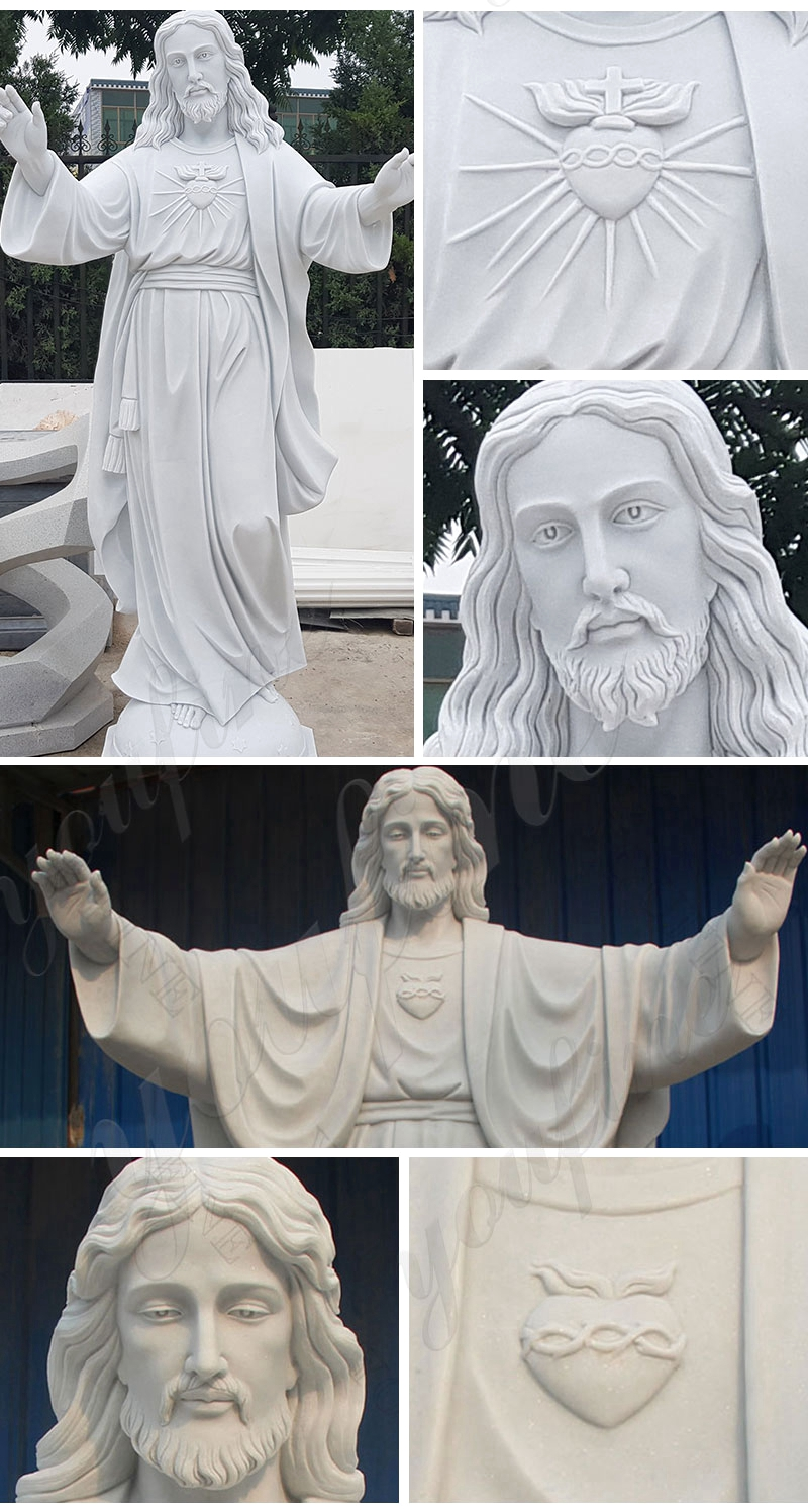 Marble Jesus Statue with Open Arms