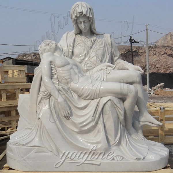 Hand Carved Marble Michelangelo's Pieta Maria Holding Jesus Statue for Sale CHS-262