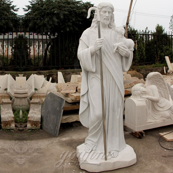 Life Size Outdoor Jesus Shepherd Marble Statue Decoration for sale CHS-292