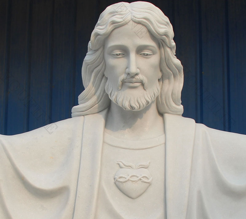 White Marble Jesus Statue with Open Arms for sale
