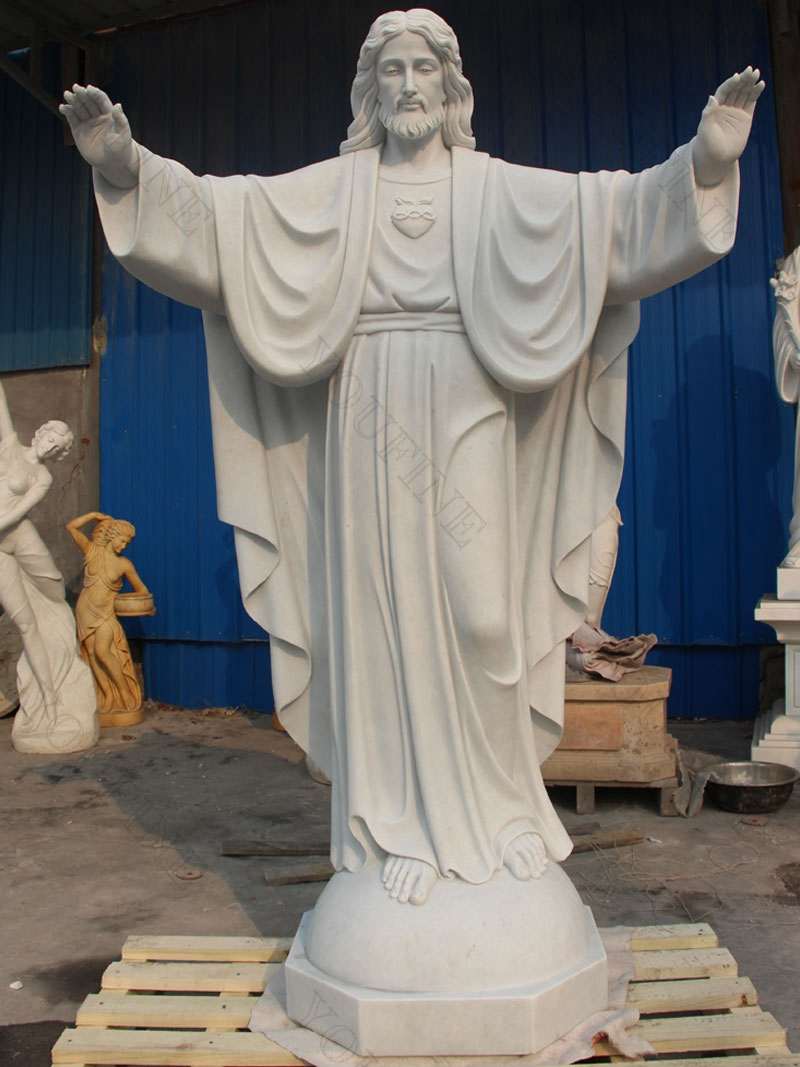White Marble Jesus Statue with Open Arms on sale