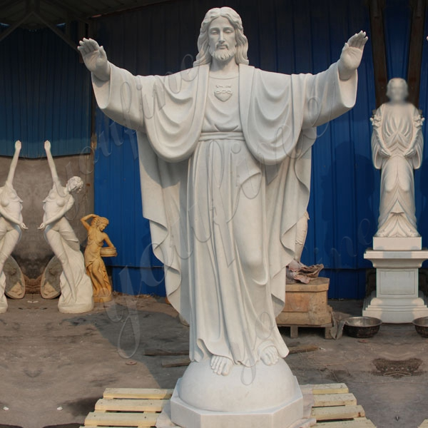 Famous Catholic White Marble Jesus Statue with Open Arms for Sale CHS-291