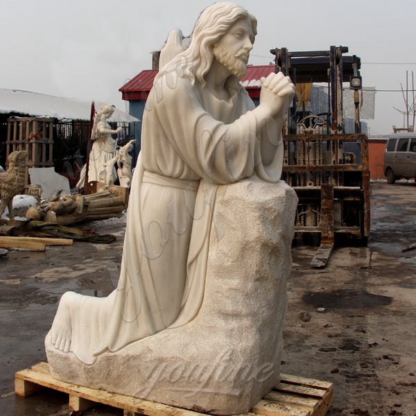 Religious Garden Sculpture Jesus Kneeling and Praying White Marble Statue for Sale CHS-295