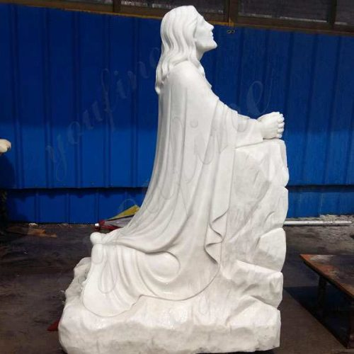 Famous Life Size Catholic White Marble Kneeling Prayer Jesus Statue Statue for Sale