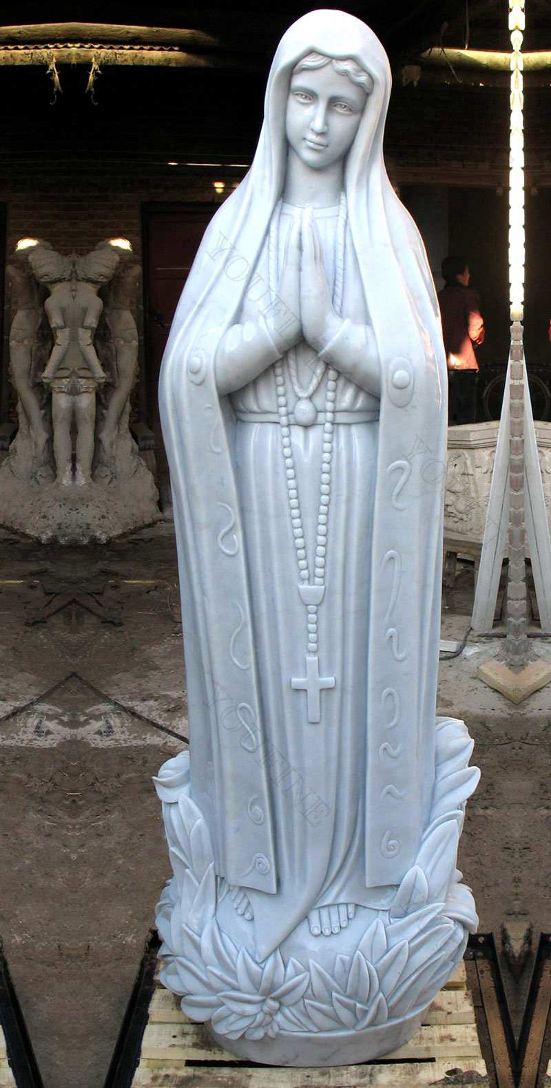 Hand Carved Blessed Our Lady of Lourdes Marble Statue for Sale