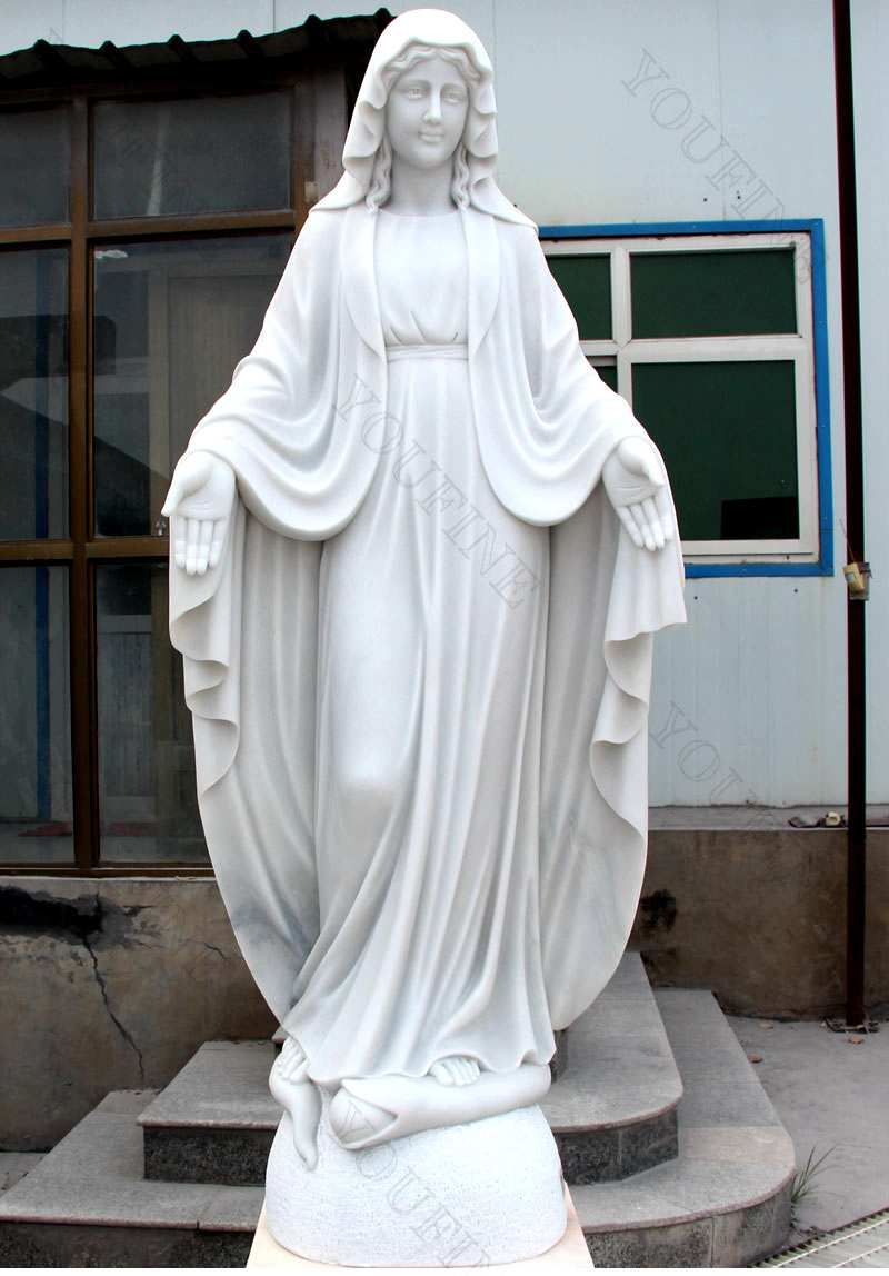 Life Size Catholic White Marble Mother Mary Statue for Sale