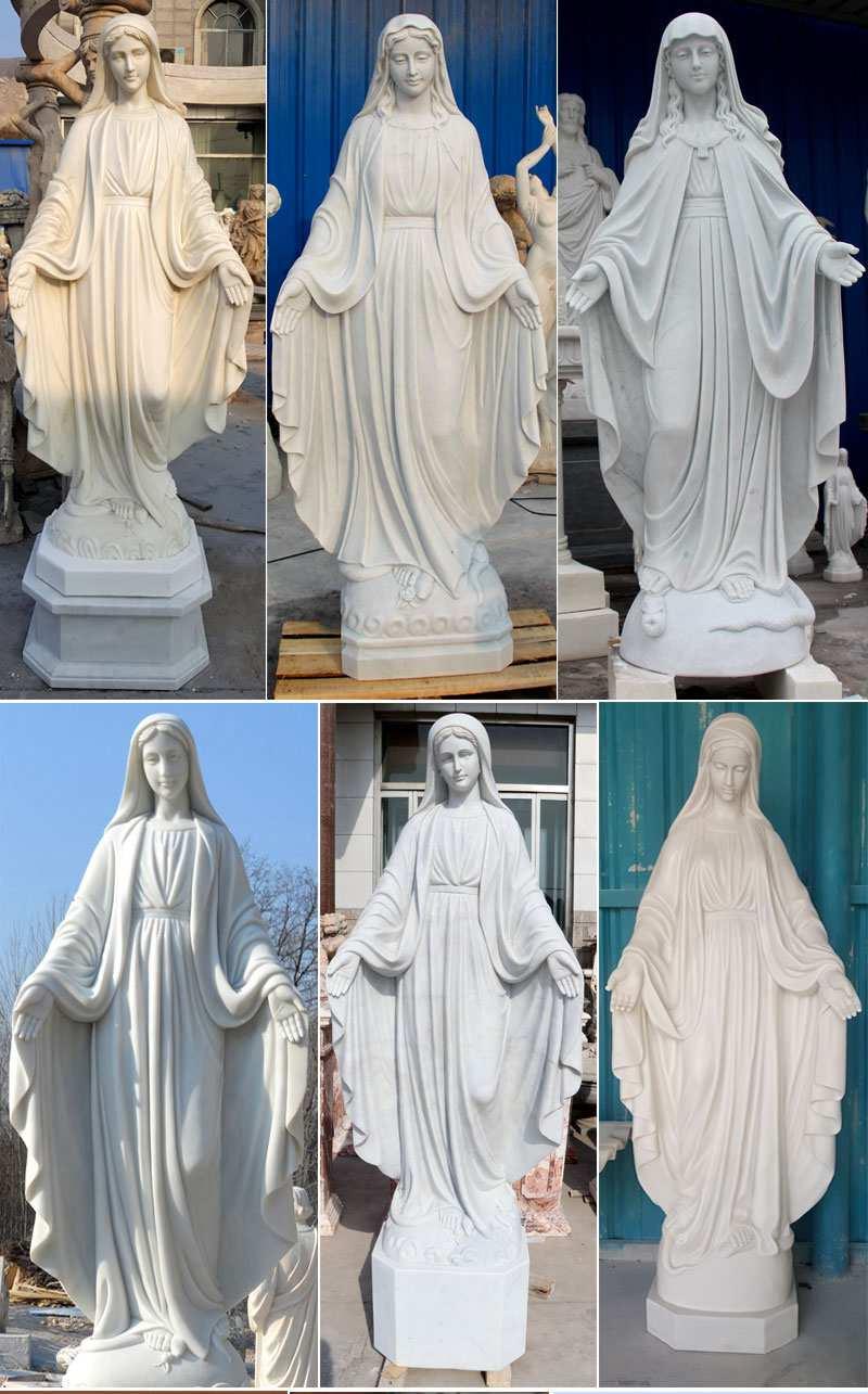 Life Size Catholic White Marble Mother Mary Statue