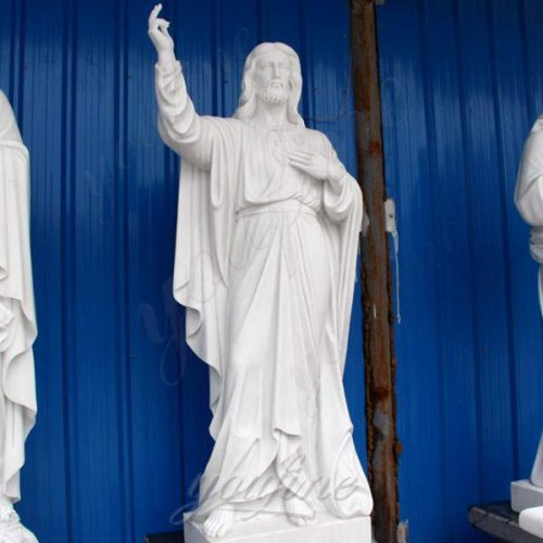 Life Size Religious White Marble Statue of Jesus with Sacred Heart