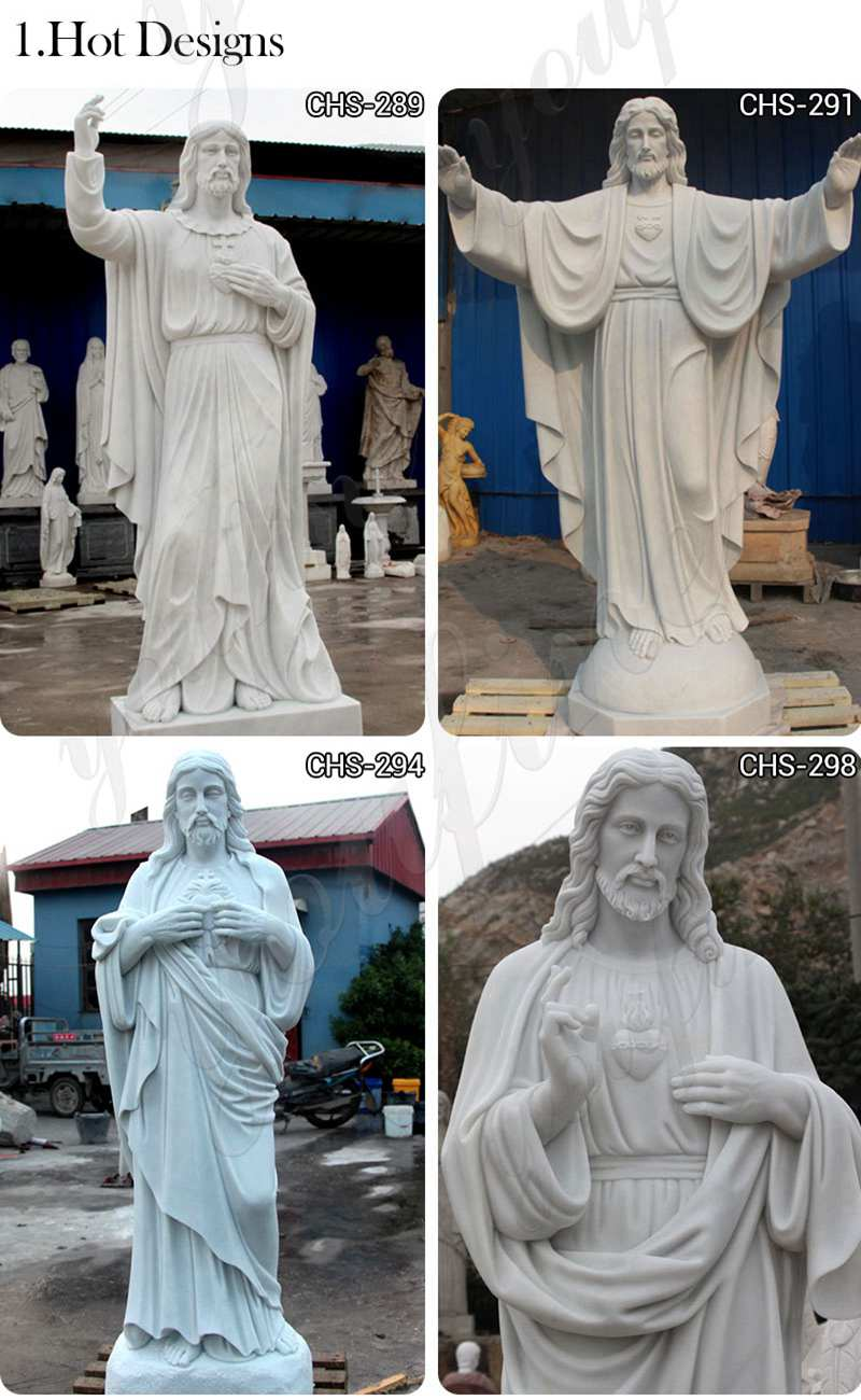 Classic Marble Life Size Jesus Statue with Hands Open for Sale