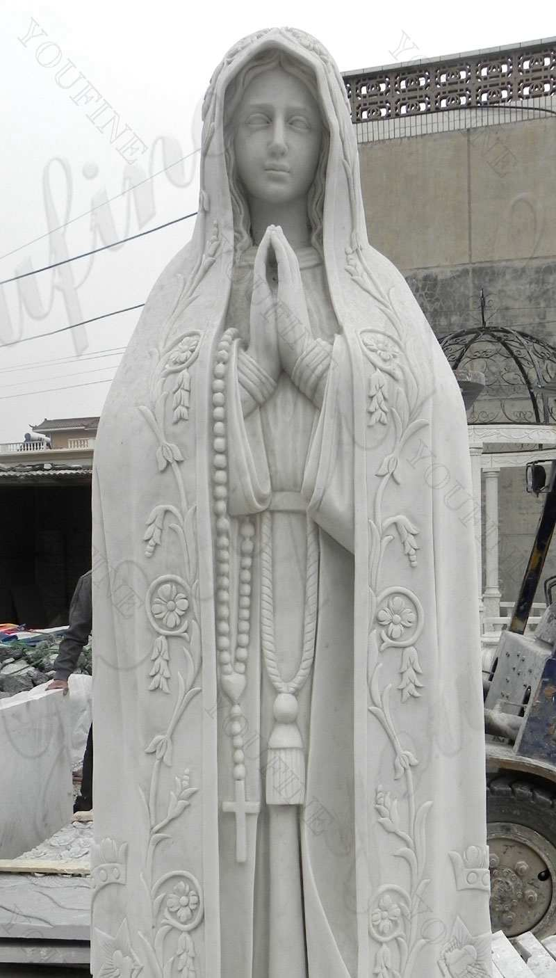 Life Size Hand Carved Beautiful Fatima Outdoor Marble Statues for Sale