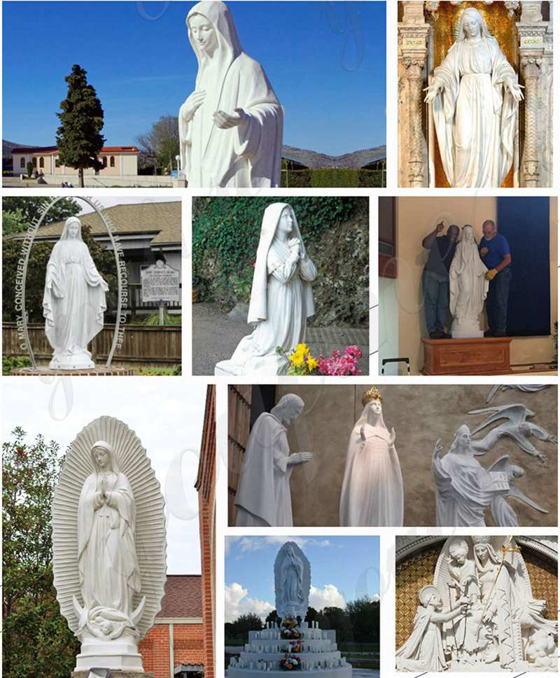 Life Size Hand Carved Beautiful Fatima Outdoor Marble Statues
