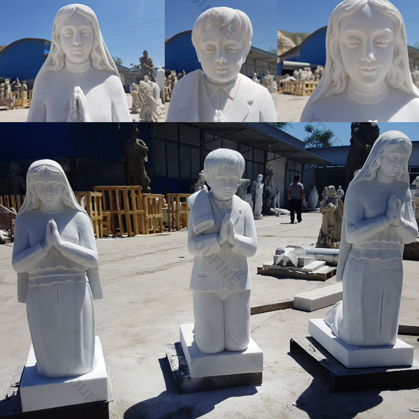 Life Size Our Lady of Fatima with Children Marble Statues for Sale