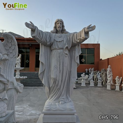 Life Size Sacred Heart of Jesus Marble Statue for Church Suppliers
