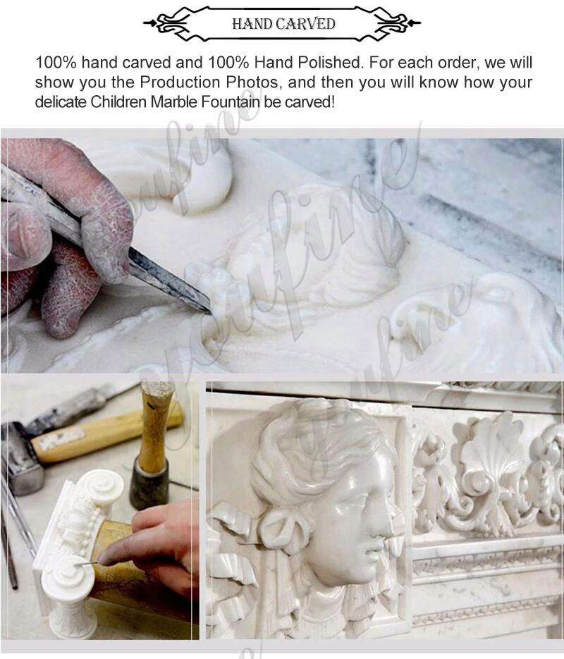 process of Fatima with Children Marble Statues