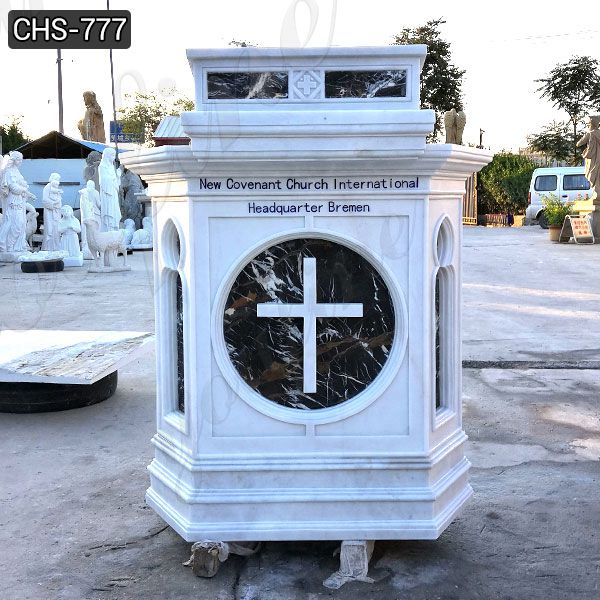 Life Size Natural White Marble Pulpit for Church Use Suppliers CHS-777