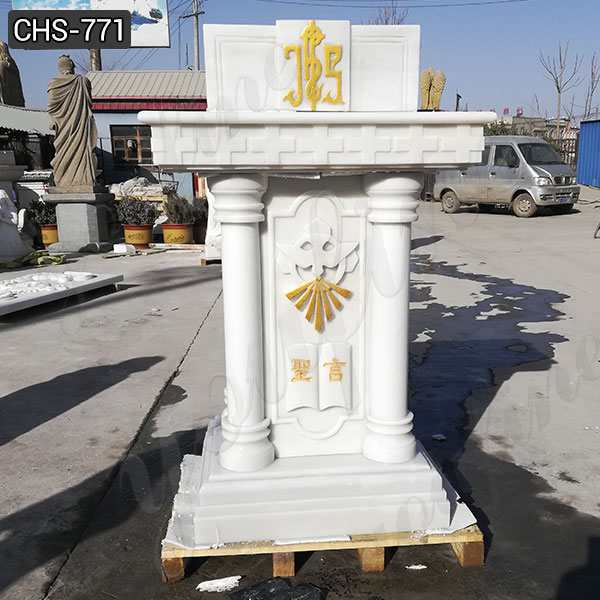 High Quality Natural White Marble Church Pulpit from Factory CHS-771