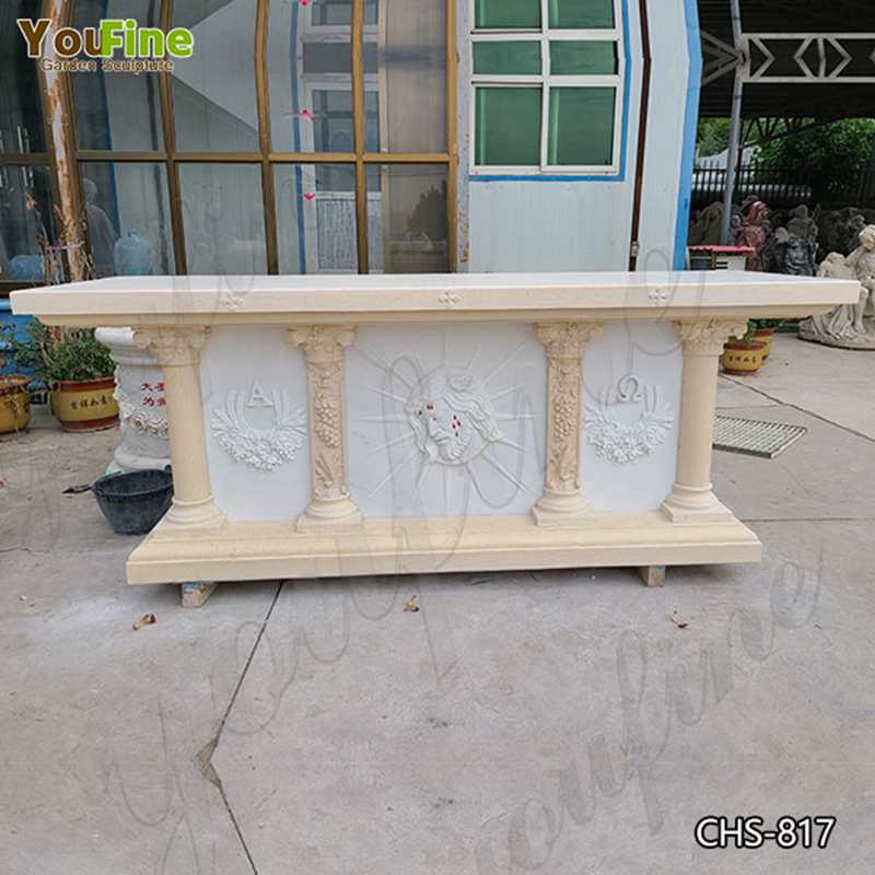 Hot Selling Natural White Marble Church Altar from Factory Supply CHS-817