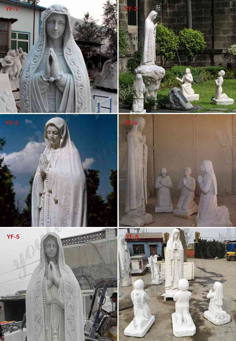 Classic Life Size Marble Our Lady of Fatima with Children Statue