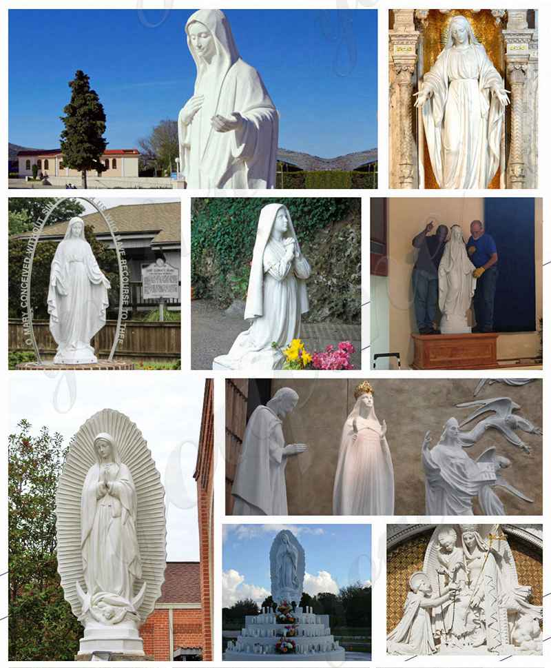 Life Size Marble Our Lady of Fatima with Children Statue