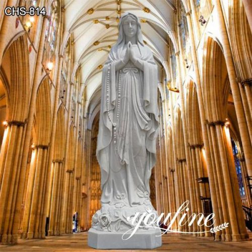 Life Size White Marble Our Lady of Lourdes Statue for Sale