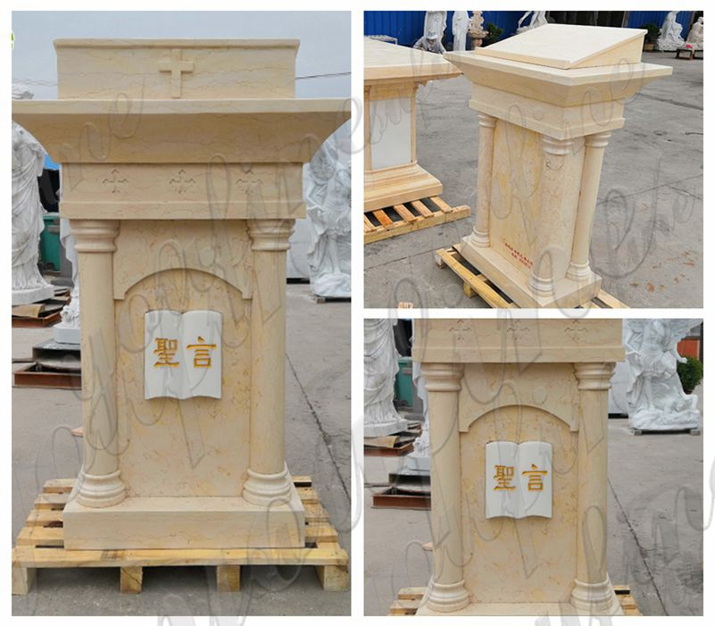 Church Natural Beige Marble Pulpit for Sale