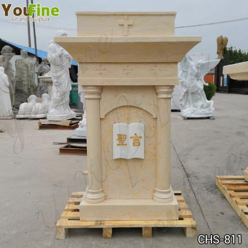 Classic Life Size Church Natural Beige Marble Pulpit for Sale