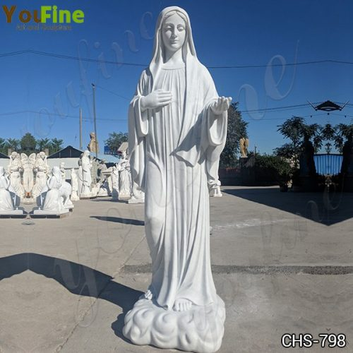 Hand Carved Marble Virgin Mary Statue for Garden Factory Supply