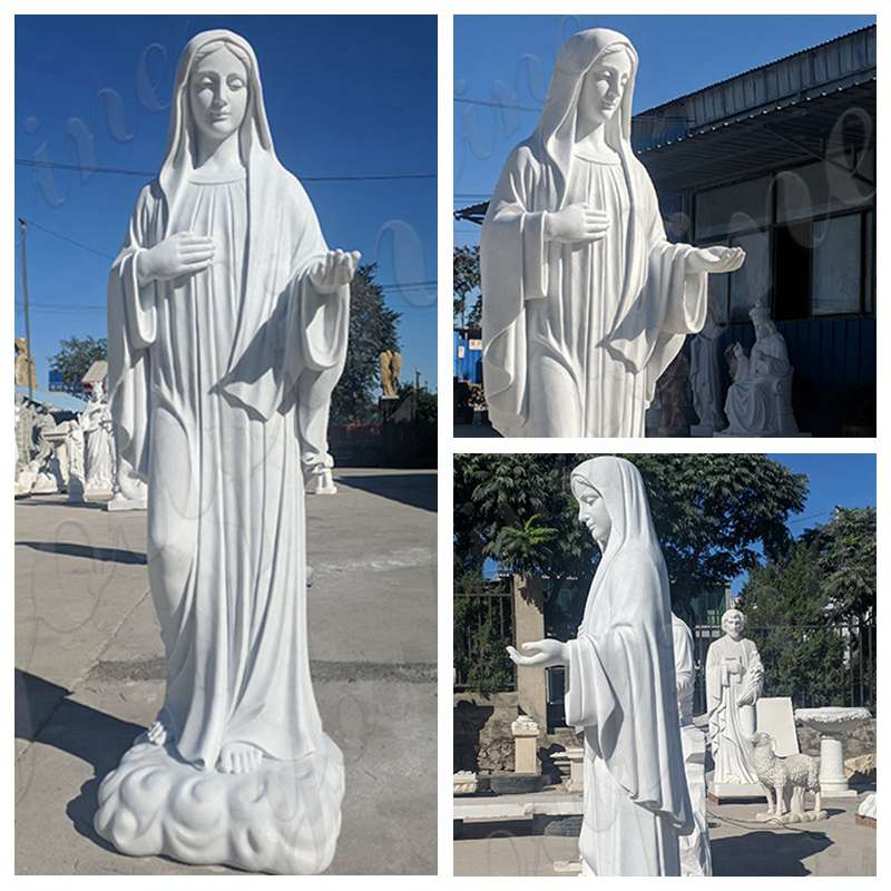 Marble Virgin Mary Statue for Garden Factory Supply