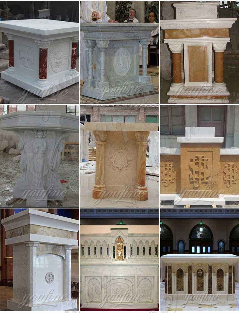 White Marble Altar with Columns for Church Suppliers