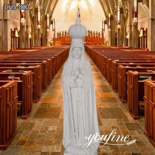 Hand Carved Religious Marble Our Lady of Fatima Statue for Sale