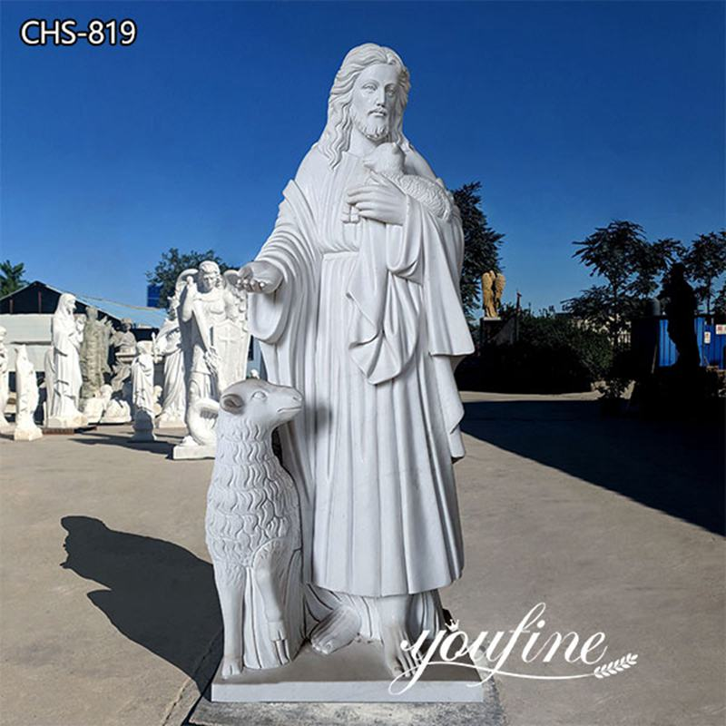Catholic Garden Marble Jesus and Lamb Statue for Sale