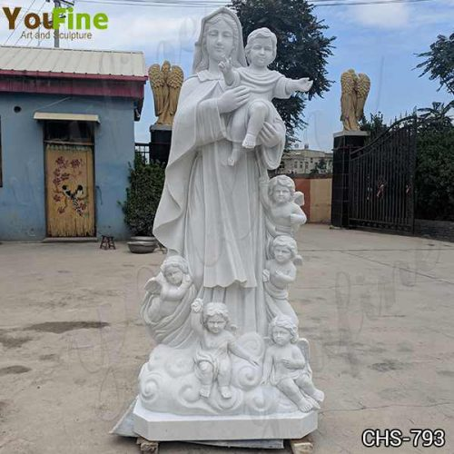 Hand Carved Marble Madonna and Children Statue for Sale CHS-793